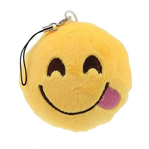 Yogogo Mignon Yeux Coeur Emoticon Smiley Emoji Porte-clé Peluche cadeau Pendentif Sac d'accessoires (G)