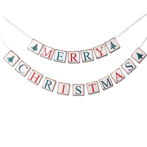 Ueetek merry christmas bunting banner ghirlanda di bandierine per feste per festa di natale decor