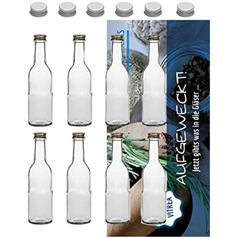 48bottiglie di vetro vuote 250ml con Tappo a Vite Argento Set Di 10Bordeaux bottiglia liquore bottiglia bottiglia di vetro ricetta Flyer