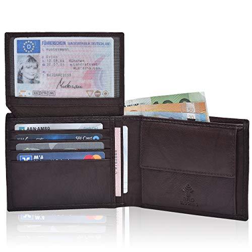 Hochwertige Ledergeldbörse für Sie & Ihn – Mundial® RFID- Schutz echtes Leder Damen Herren Querformat Geldbeutel Portemonnaie Brieftasche Geschenk Damen- Geldbörse Herren- Geldbörse Wallet