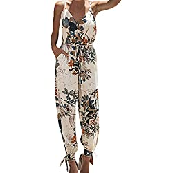 OverDose Soldes Été Combinaison Imprimé Fleur Chic pour Femme, Casual Loose Pantalons Large De Plage sans Manches Jumpsuit