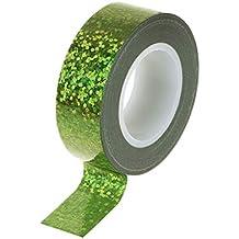 JERKKY Gimnasia rítmica Decoración Holográfica Glitter Cinta Anillo Stick Accesorio Verde