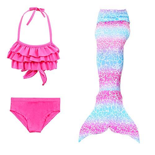 JoyChic Meerjungfrau Flosse zum Schwimmen Meerjungfrauenschwanz Bikini Badeanzüge Bademode Badenbkleidung Kostüm Set für Mädchen Kinder Monoflosse Inkl.