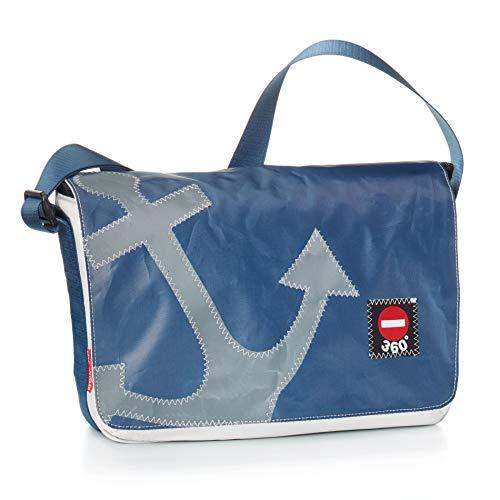 360° Barkasse Mini Segeltuchtasche, Recycling Laptoptasche bis 13\'\' Zoll, Umhängetasche weiß blau, Anker grau Crossover, Messengerbag