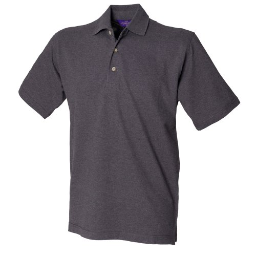 Henbury Herren Polo-Shirt, unifarben Graphit