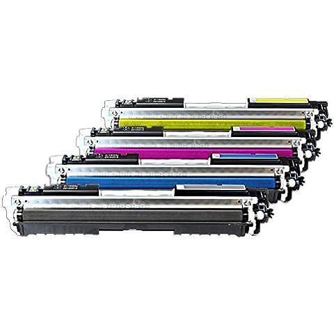 Mipuu–Tóner compatible con HP LaserJet CP 1025NW Color (CE310A 313a)–Compatible–Juego de tóneres CMYK–1x 1.200& 3x 1000Páginas
