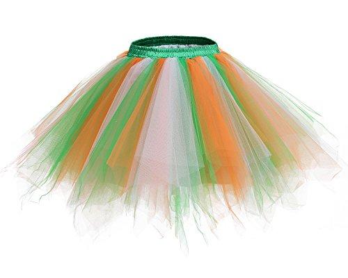 etro Petticoat Rock Ballett Blase 50er Tutu Unterrock Green-White-Orange S (White Tutu Kostüme)