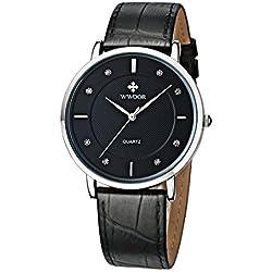 Herren Luxus Marke Fashion Business Quarzuhr Herren Armbanduhr Ultradünn ECHT LEDER schwarz