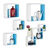 5 teiliges Wandregal Set bunt, matt lackiertes Dekoregal, belastbares Hängeregal, quadratisches Wandboard, weiß-blau