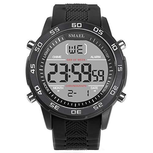 Chenang Herren Digital Sport Uhren - Outdoor wasserdichte Armbanduhr mit Wecker Chronograph und Countdown Uhr, LED Licht Gummi Schwarz große Anzeige Digitaluhren für Herren