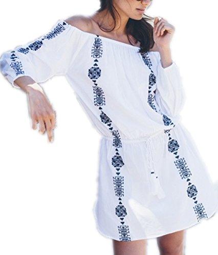 ASSKDAN Femme Sexy Bohémien Robe Imprimé épaule Nu Manche longue Mini Robe de Plage Bleu