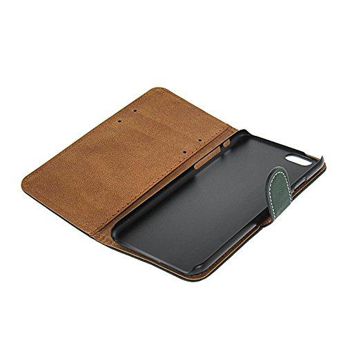 MOONCASE Cowskin Coque en Cuir Portefeuille Housse de Protection Étui à rabat Case pour Apple iPhone 6 (4.7 inch) Dark Vert