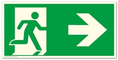 Schild Notausgang Pfeil rechts | extra langnachleuchtend | PVC selbstklebend 297x148mm | gemäß ASR A1.3 DIN 7010 DIN 67510 (Fluchtwegschild Rettungsweg) Dreifke® extra 160
