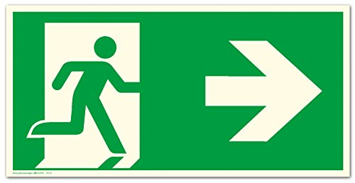 Schild Notausgang Pfeil rechts langnachleuchtend 300 x 150 mm PVC selbstklebend gem. ASR A1.3 | DIN 7010 (Fluchtwegschild Rettungszeichen Rettungsweg)