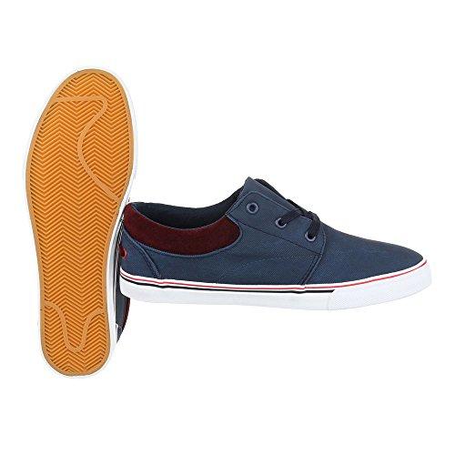 Schnürschuhe Herrenschuhe Oxford Sneakers Schnürsenkel Ital-Design Halbschuhe Dunkelblau
