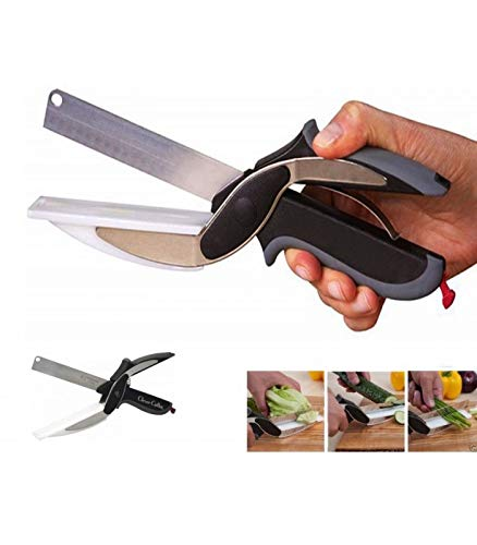 Trade shop traesio forbici coltello e tagliere da cucina clever cutter 2 in 1 affetta verdure carne