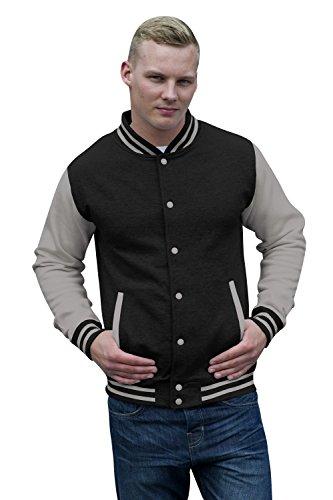 JH043 Varsity Jacket Sweat Jacke Sweatshirt, Farbe:Jet Black-Heather Grey;Größen:M