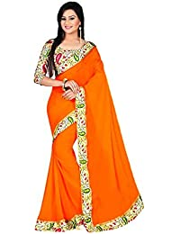Fantastic Trendz Chiffon Saree For Women With Lace Border And Printed Blouse Piece