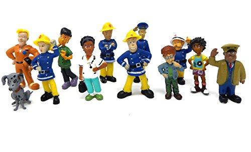 Brigamo 12 x Feuerwehrmann Sam Figuren, TORTENFIGUR für die Torte zum Kindergeburtstag, Tortendeko thumbnail