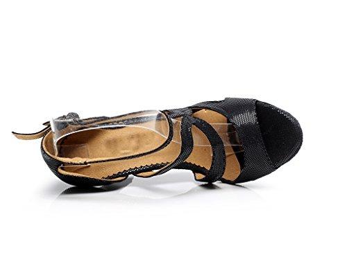 Minitoo QJ7033 femmes à talon synthétique Tango Latin Chaussures de danse Noir - noir