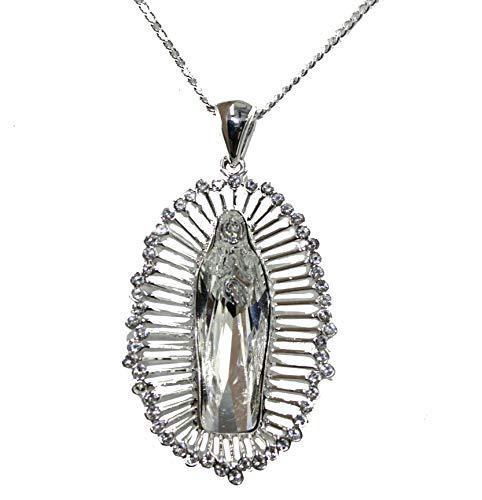 Borun America Virgen de Guadalupe Medalla con Cristal de Swarovski 18K Chapado en Oro Colgante Oval con Cadena de Ajustable