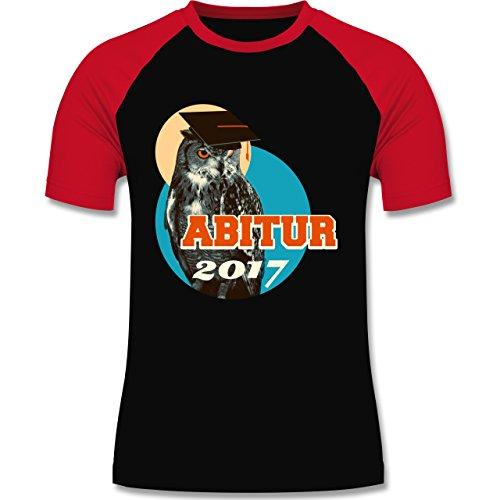 Abi & Abschluss - ABITUR 2017 Vintage Eule - zweifarbiges Baseballshirt für Männer Schwarz/Rot