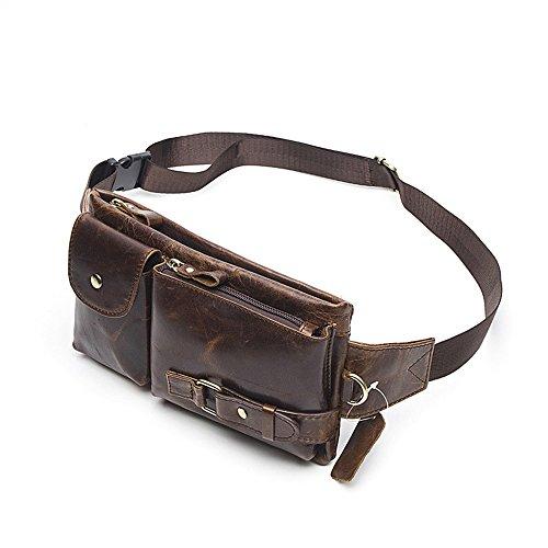 MeiliYH Männer echtes Leder Tasche Messenger Bag Handytasche Retro Tasche braun_Öl