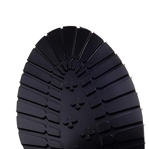 VogueZone009 Donna Tacco Medio Alla Caviglia Puro Cerniera Stivali con Fibbia Giallo