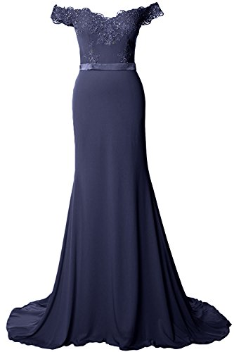 MACloth Off the Shoulder Long Prom Dress Gorgeous Jersey Evening Formal Gown Dark Navy