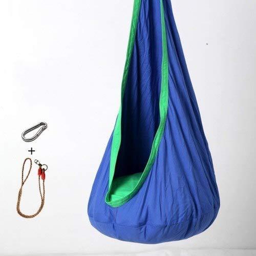 Bureze Kinder-Hängematte Cocoon Baby Pod Swing Kinder-Hängesessel Baumwolle Stoff + PVC aufblasbares Kissen Gartenmöbel Outdoor Hängematte königsblau