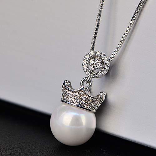 XKJT Elegante Königin Krone 10Mm Natürliche Süßwasserperlen Halskette Anhänger Für Frauen 925 Sterling Silber Halsketten