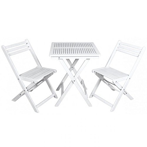 Balkonset SANFORD 3-tlg. Akazie Holz Sitzgruppe Tischgruppe Tisch Stuhl weiß NEU