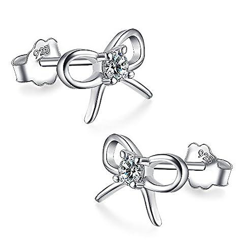 Meixao Women's Sterling Silver Cubic Zirconia Butterfly Stud Earrings (White)