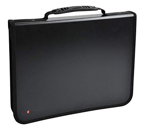 Exactive Konferenzmappe Exafolder mit Reißverschluss und Henkel / Schwarzer Organizer mit austauschbarem Block / Ordner (36cm x 27cm) -