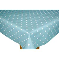 Duck Egg Blue Dotty PVC Wipe Clean Tablecloth by Karina Home 200 x 137cm