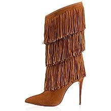 DYF Longitud mediana zapatos botas de tacón alto con flecos color sólido Knight señaló