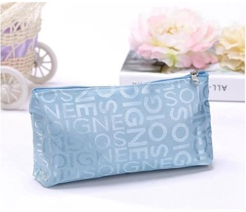 Aeoss ® Portable Cute Multifunction Zipper Travel Cosmetic Pencil Pouch Portable Storage Bag Letter Makeup Case (Skyblue)