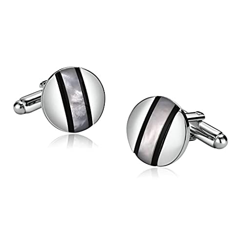 Anazoz Charm Mens Silver Round Center Lines Opal Stainless Steel Cuff Links For Birthday Gift