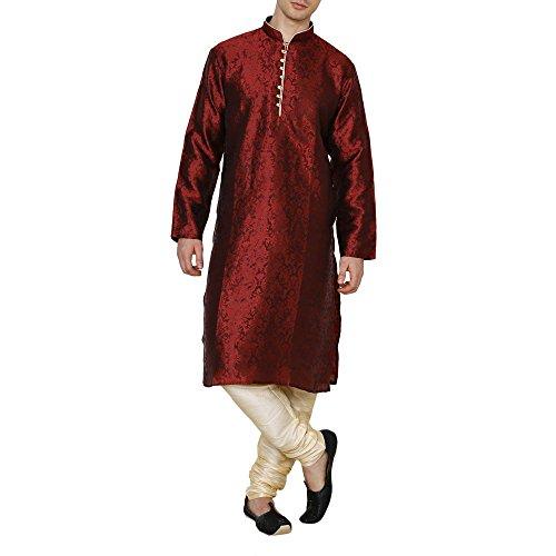 Royal Kurta Men's Jacquard Silk Floral Kurta Pyjama