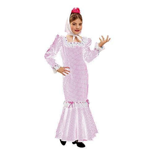 My Other Me Me - Disfraz de madrileña para niña, talla 7-9 años, color blanco (Viving Costumes MOM02318)