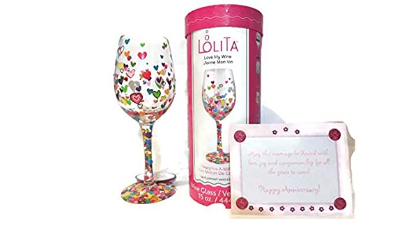 """Partner Lolita /""""Happy Anniversary/"""" Hand-painted Artisan Wine Glass- Best Anniversary Gift for Wife Couple Spouse"""