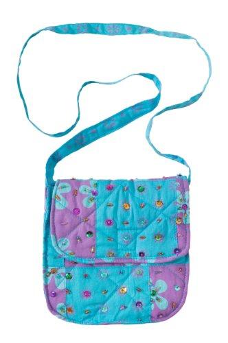Back From Bali, borsetta in cotone, tracolla a croce, Patchwork, con paillettes luccicanti Purple/Turquoise