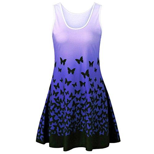 MRULIC Damen Schmetterling Druck ärmelloses Party Kleid Vintage Casual Dress (Blau,EU-42/CN-L)