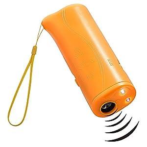 Pingenaneer Répulsif Ultrasonique de Chien et Dispositif de Formateur 3 dans 1 Anti-aboiement, Fispositif de Formation D'animal Familier / Outil Tenu dans la main de Dissuasion de Chien avec LED - Jaune