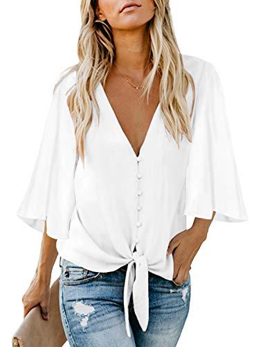 Weiße Langarm-top (FIYOTE Damen Hemd Oberteil V-Ausschnitt Hemd Langarm Hemdbluse Tops Causaul Chiffon)