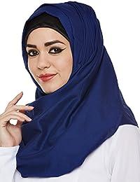 Momin Libas Women's Cotton Hijab (HCT41617_Dark Blue_Free size)