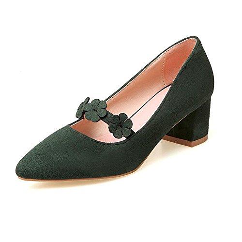 YIXINY Escarpin Sweet Printemps Chaussures Pour Femmes Fleurs Pointu Bouche Peu Profonde Talon Épais Talon 5cm Vert Foncé / Rose / Noir