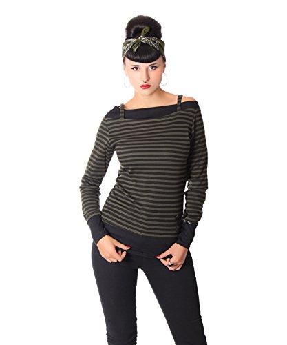 SugarShock Lilja retro Streifen Rockabilly Pin Up Carmen Longsleeve langarm Shirt, Größe:L, Farbe:schwarz oliv (Rockabilly-retro-shirt)