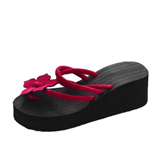 DIKEWANG Women Summer Leisure Sweet Flower Non-slip Platform Shoes Wedges High Heels Slippers Sandals