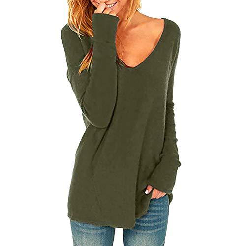 UJUNAOR Frühling Frauen Sexy V-Ausschnitt Langarm T-Shirt Beiläufige Loser Normallack Bluse(Armeegrün,CN L)